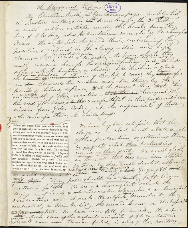 """John Greenleaf Whittier manuscript article, 24 September [1847?]: """"The Clergy and Reform."""""""