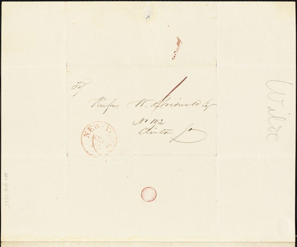 Richard Henry Wilde, New Brighton, (?), autograph document signed to R. W. Griswold, 22 September 1841