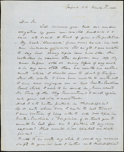 Calvin Henderson Wiley, Oxford, NC., autograph letter signed to R. W. Griswold, 15 March 1848