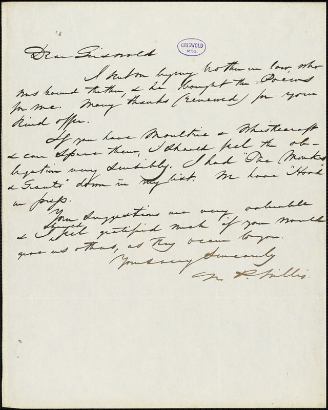 Nathaniel Parker Willis autograph letter signed to R. W. Griswold