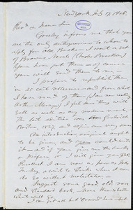 J[onas] Winchester, New York, autograph letter signed to [R. W. Griswold], 17 July 1845