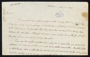 William Wirt, Baltimore, MD., autograph letter signed to [Edgar Allan Poe], 11 May 1829
