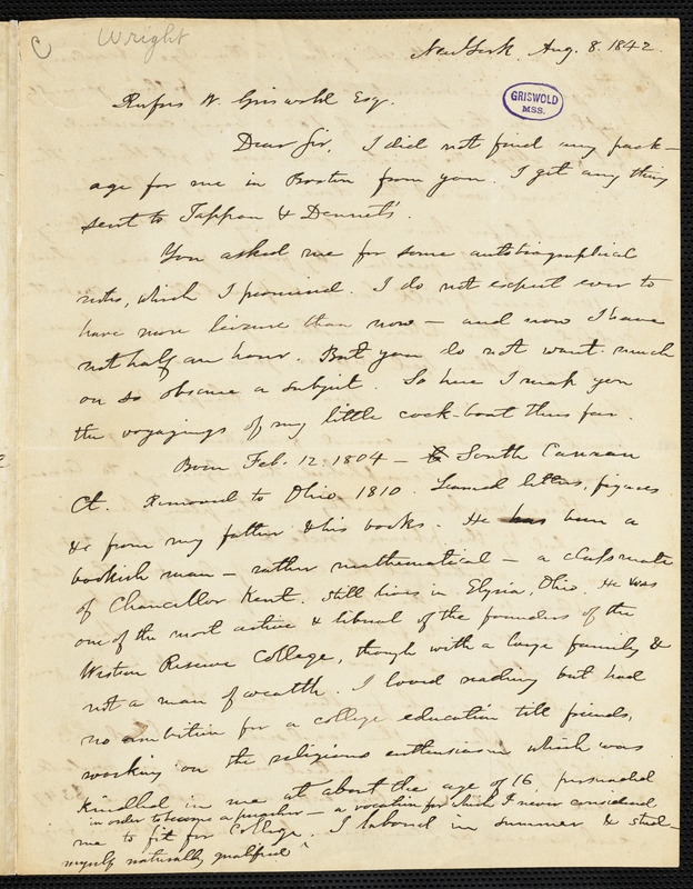 Elizur Wright Jr., New York, autograph letter signed to R. W. Griswold, 8 August 1842