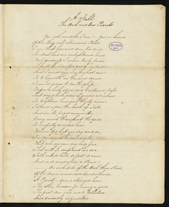 "Manuscript poem: ""A Fable: the Owl and two Parrots,"" [1839?]"
