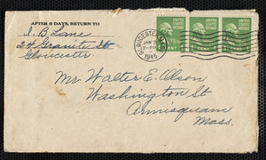 Letter from I. B Lane to Walter E. Allison, Washington Street, Annisquam with excerpt from Journal of Capt. Gideon Lane