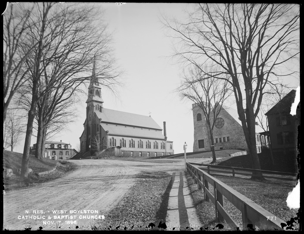Wachusett Reservoir, Catholic and Baptist churches, on south side of East Main Street, from the northwest, West Boylston, Mass., Nov. 7, 1896
