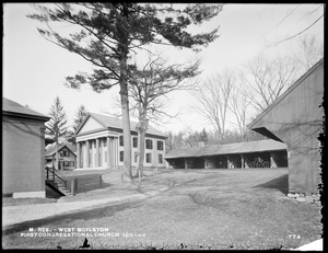 Wachusett Reservoir, First Congregational Church, Thomas Hall and sheds, corner of Howe and East Main Streets, from the south, near church, West Boylston, Mass., Nov. 14, 1896