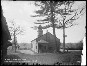 Wachusett Reservoir, First Congregational Church, corner of Howe and East Main Streets, from the east near sheds, West Boylston, Mass., Nov. 14, 1896