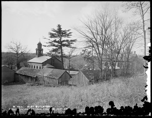Wachusett Reservoir, First Congregational Church, Thomas Hall and sheds, corner of Howe and East Main Streets, from the northeast, West Boylston, Mass., Nov. 14, 1896