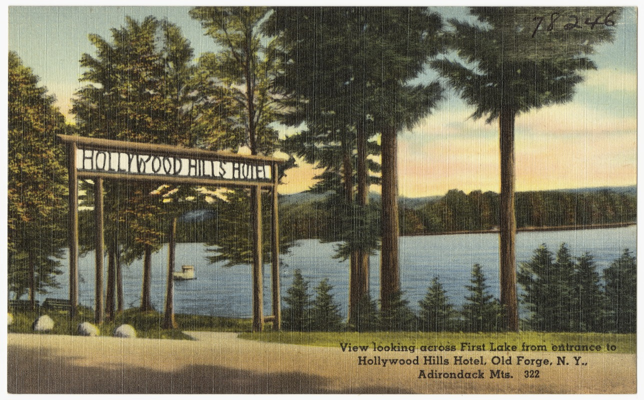 Hollywood Hills Hotel View Looking Across First Lake From Entrance To Old Forge N Y Adirondack Mts