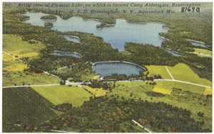 Aerial view of Pleasant Lake, on which is located Camp Aldersgate, Brantingham Lake in the background. P. O. Brantingham, N. Y., Adirondack Mts.