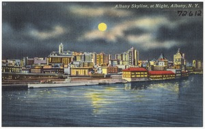 Albany skyline, at night, Albany, N. Y.