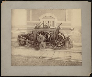 Sudbury Department, Sudbury Aqueduct, Rosemary Siphon Gatehouse, machine with brushes on tracks in front, Wellesley, Mass., ca. 1890-1899