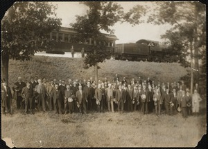 Metropolitan Water Works Miscellaneous, visit by officials (to Wachusett Dam?), Chief Engineer Frederic P. Stearns 6th from left, Mass., ca. 1907