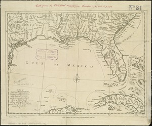 A map of East and West Florida, Georgia, and Louisiana, with the islands of Cuba, Bahama, and the countries surrounding the Gulf of Mexico, with the tract of the Spanish galleons, and of our fleets thro' the Straits of Florida, from the best authorities