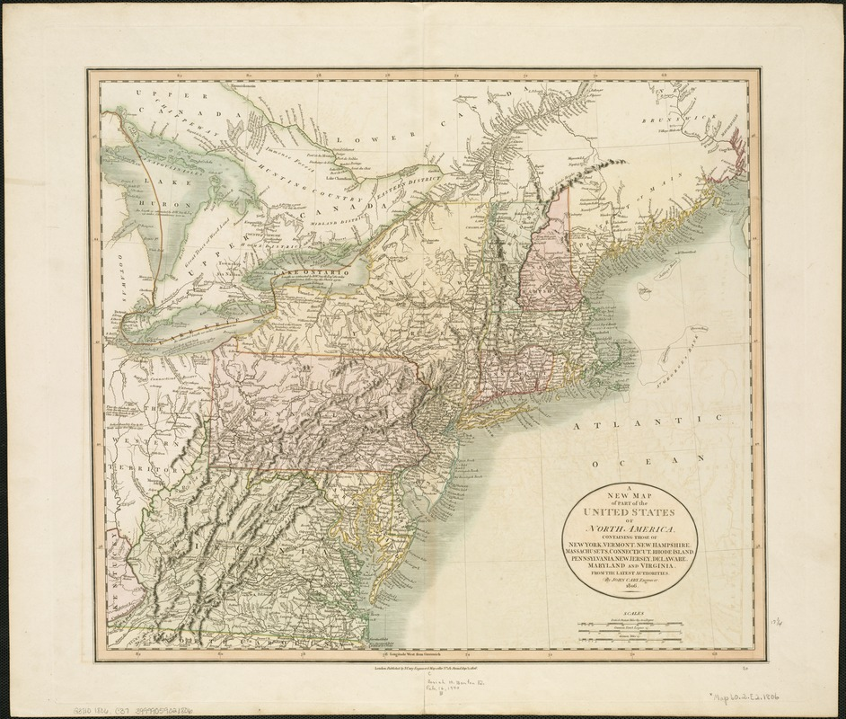 A new map of part of the United States of North America, containing those of New York, Vermont, New Hampshire, Massachusets [sic], Connecticut, Rhode Island, Pennsylvania, New Jersey, Delaware, Maryland and Virginia