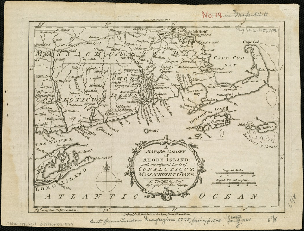 A map of the colony of Rhode Island