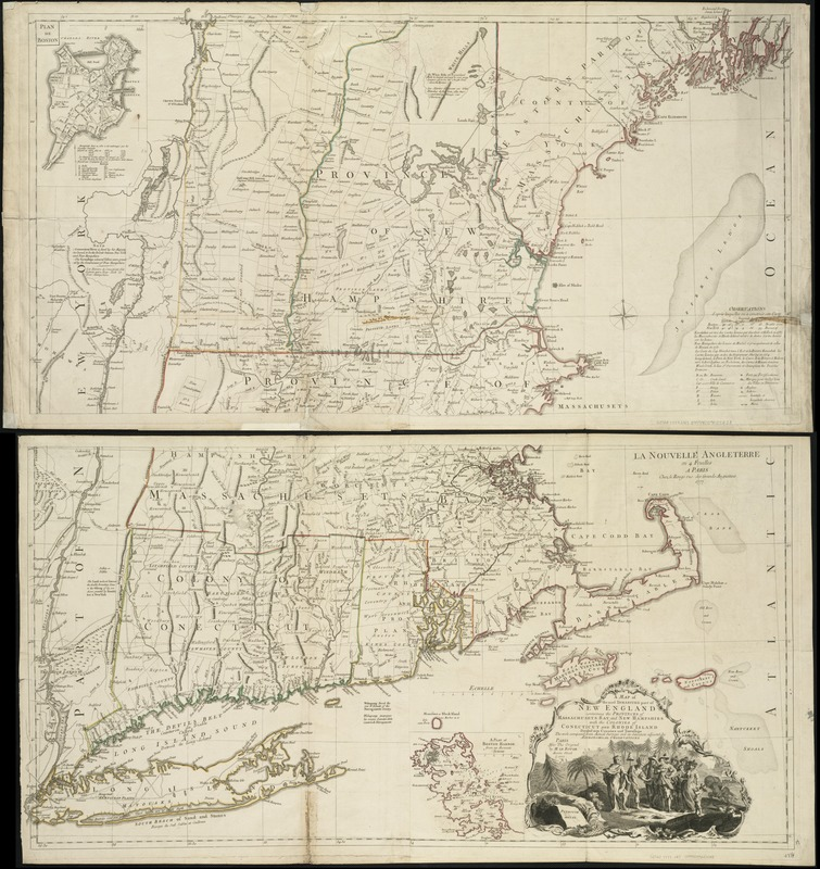 A map of the most inhabited part of New England containing the provinces of Massachusets Bay and New Hampshire with the colonies of Connecticut and Rhode Island divided into counties and townships the w[h]ole composed from actual surveys and its situation adjusted by astronomical observations