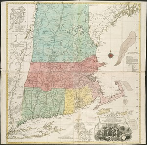 A map of the most inhabited part of New England, containing the provinces of Massachusets Bay and New Hampshire, with the colonies of Connecticut and Rhode Island, divided into counties and townships, the whole composed from actual surveys and its situation adjusted by astronomical observations