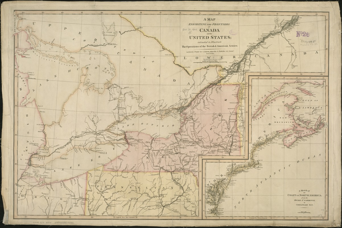 A Map exhibiting the frontiers of Canada and the United States