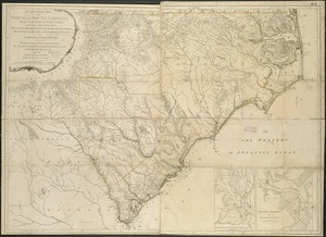 An accurate map of North and South Carolina with their Indian frontiers, shewing in a distinct manner all the mountains, rivers, swamps, marshes, bays, creeks, harbours, sandbanks and soundings on the coasts
