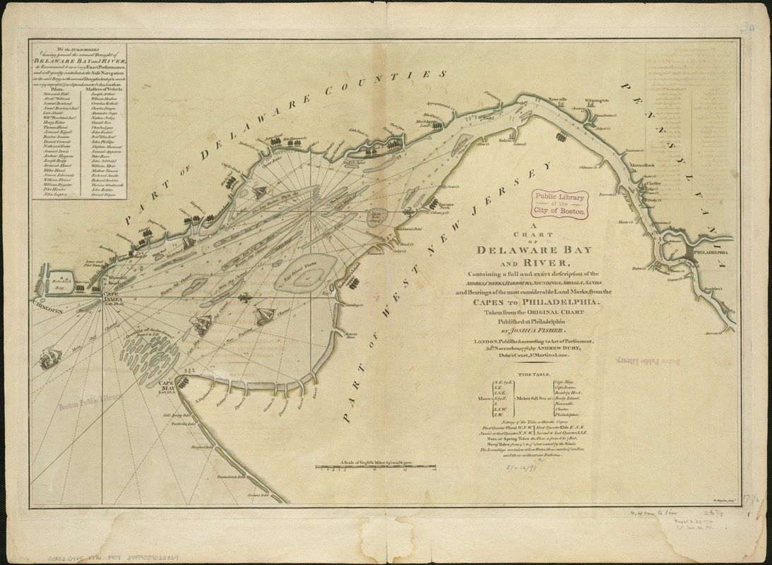 A chart of Delaware Bay and River, containing a full and exact description of the shores, creeks, harbours, soundings, shoals, sands, and bearings of the most considerable land marks, from the capes to Philadelphia