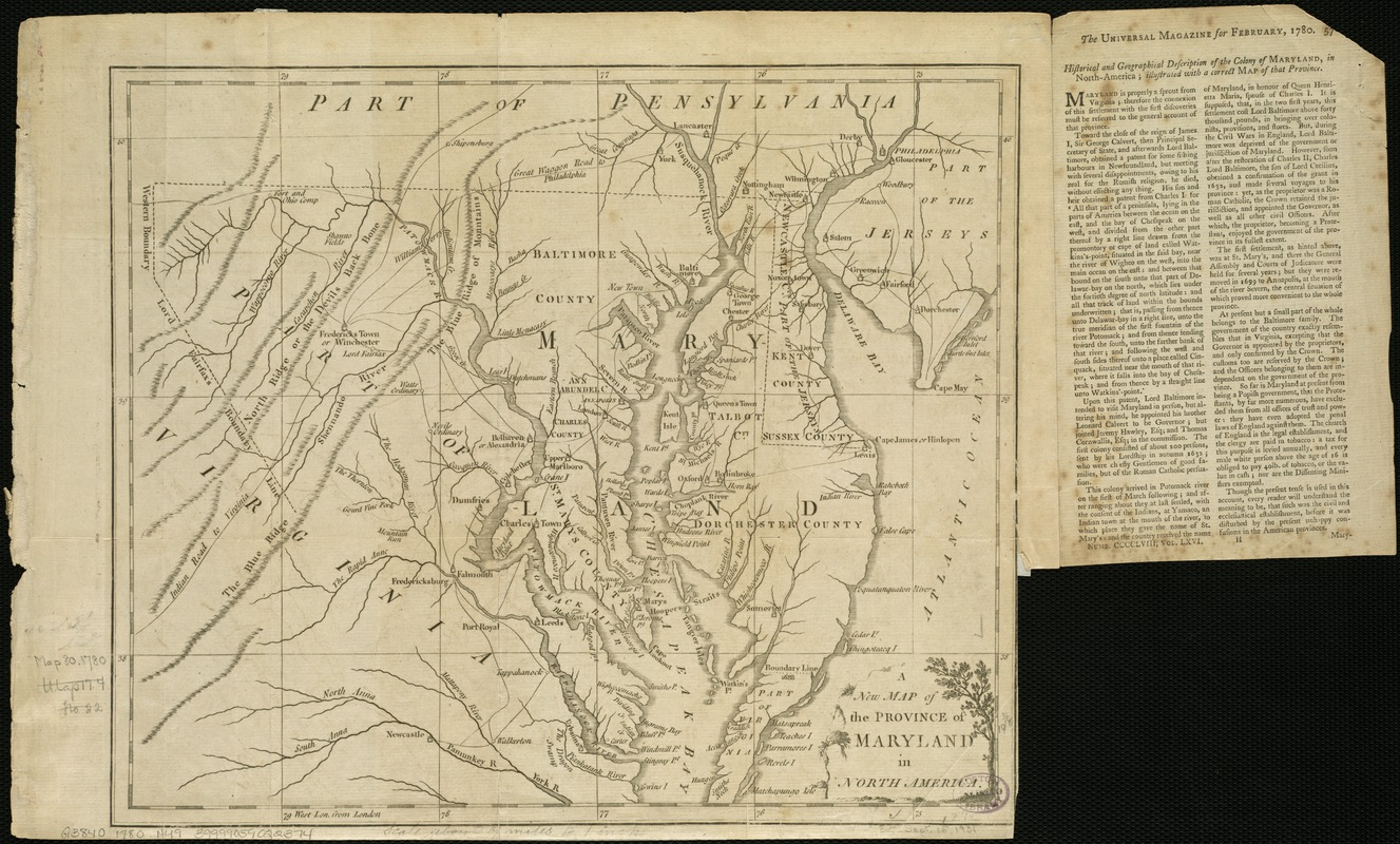 A New Map Of The Province Of Maryland In North America Digital