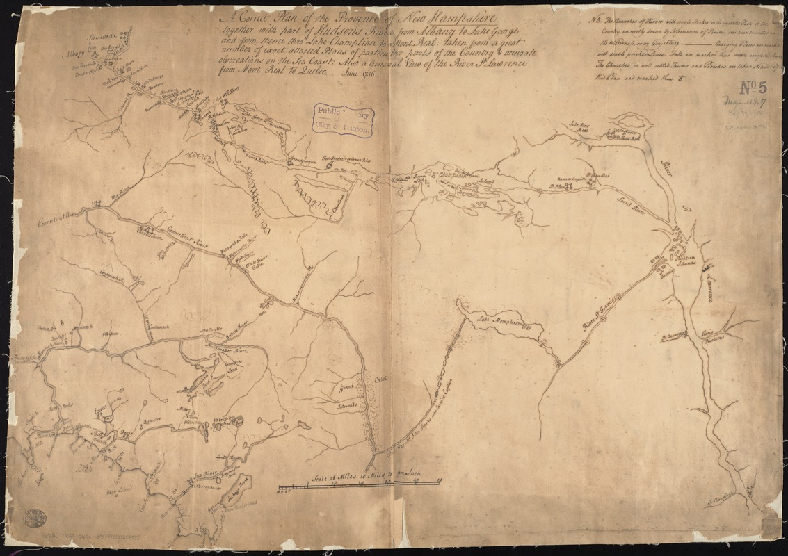 A correct plan of the province of New Hampshire together with part of the Hudsons River from Albany to Lake George and from thence thro Lake Champlain to Mont Real