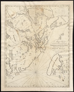 A map & chart of the bays harbours post roads and settlements in Passamaquoddy & Machias with the large island of Grand Manan