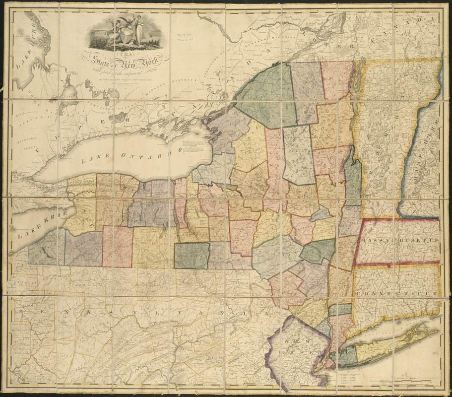 The state of New York with part of the adjacent states