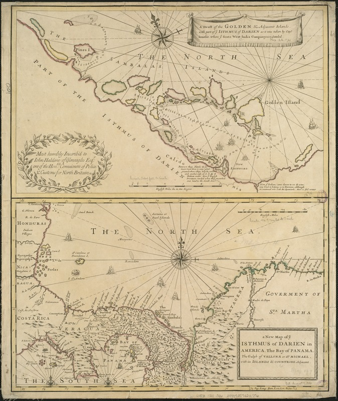 A draft of the Golden & adjacent Islands, with part of ye Isthmus of Darien as it was taken by Capt. Ienefer where ye Scots West-India Company were setteled