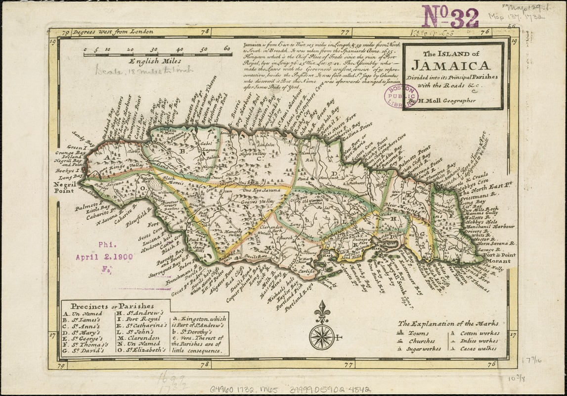 The island of Jamaica, divided into its principal parishes, with the roads &c