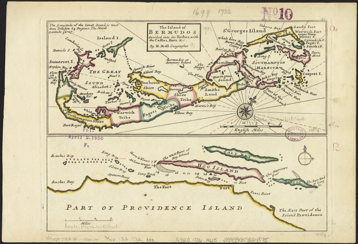 The island of Bermudos divided into its tribes, with the castles, forts &c