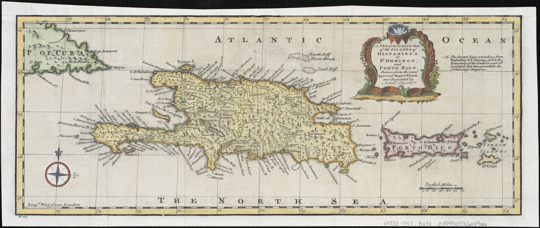 A new & accurate map of the islands of Hispaniola or St. Domingo, and Porto Rico