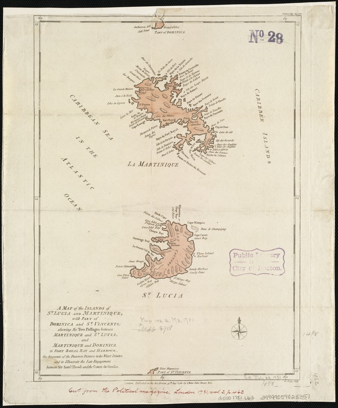 A map of the islands of St. Lucia and Martinique, with part of Dominica and St. Vincents