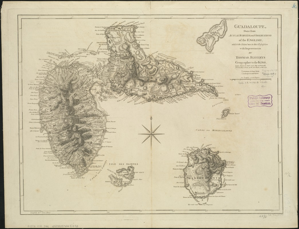 Guadaloupe, done from actual surveys and observations of the English