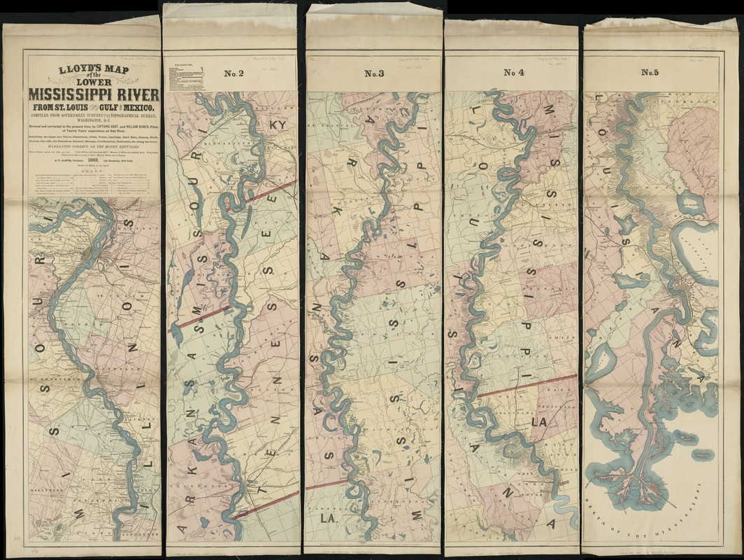 Lloyd's map of the lower Mississippi River from St. Louis to the Gulf of Mexico