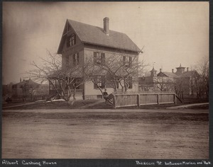 Albert Cushing house, boy in tree, Beacon St.