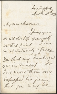Emily Tennyson autograph letter signed to Mrs. Gatty, Farringford, [Isle of Wight], 18 November 1858