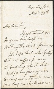 Emily Tennyson autograph letter signed to Mr. Gatty, Farringford, [Isle of Wight], 26 November [1858?]