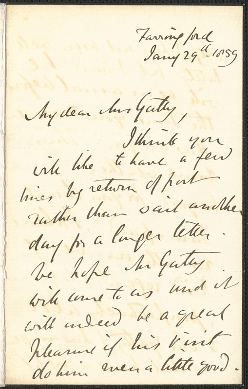 Emily Tennyson autograph letter signed to Mrs. Gatty, Farringford, [Isle of Wight], 29 January 1859