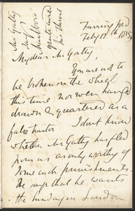 Emily Tennyson autograph letter signed to Mr. Gatty, Farringford, [Isle of Wight], 12 February 1859