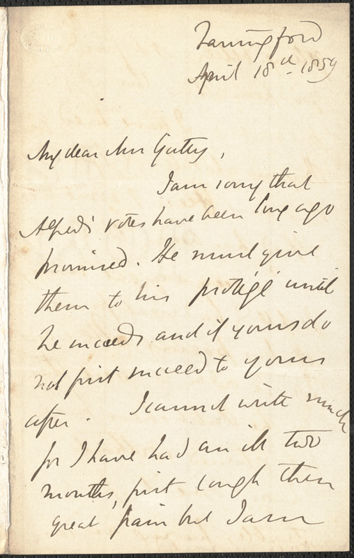 Emily Tennyson autograph letter signed to Mrs. Gatty, Farringford, [Isle of Wight], 18 April 1859