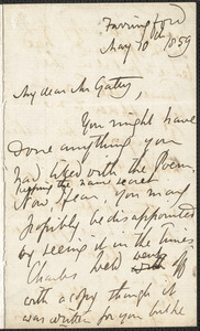 Emily Tennyson autograph letter signed to Mr. Gatty, Farringford, [Isle of Wight], 10 May 1859