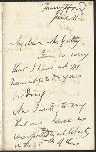 Emily Tennyson autograph letter signed to Mr. Gatty, Farringford, [Isle of Wight], 11 June [1859?]