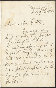 Emily Tennyson autograph letter signed to Mr. Gatty, Farringford, [Isle of Wight], 9 July 1859