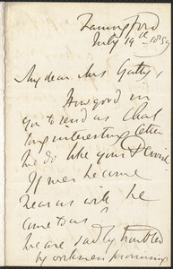 Emily Tennyson autograph letter signed to Mr. Gatty, Farringford, [Isle of Wight], 19 July 1859