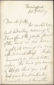 Emily Tennyson autograph letter signed to Mr. Gatty, Farringford, [Isle of Wight], 3 October 1859