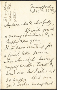 Emily Tennyson autograph letter signed to Mr. and Mrs. Gatty, Farringford, [Isle of Wight], 23 December 1859