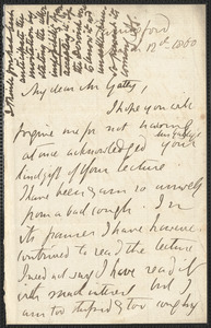 Emily Tennyson autograph letter signed to Mr. Gatty, Farringford, [Isle of Wight], 12 March 1860